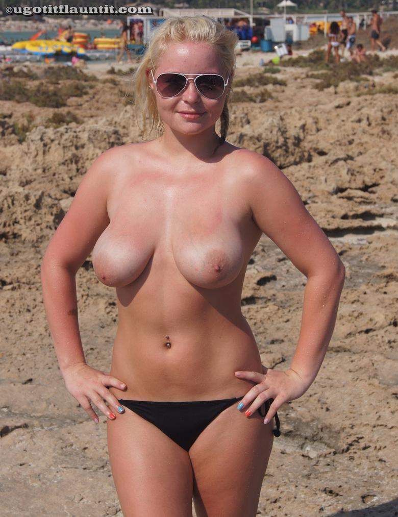 Joanne topless on the shore in 15 photos from U Got It! Flaunt It! picture 14