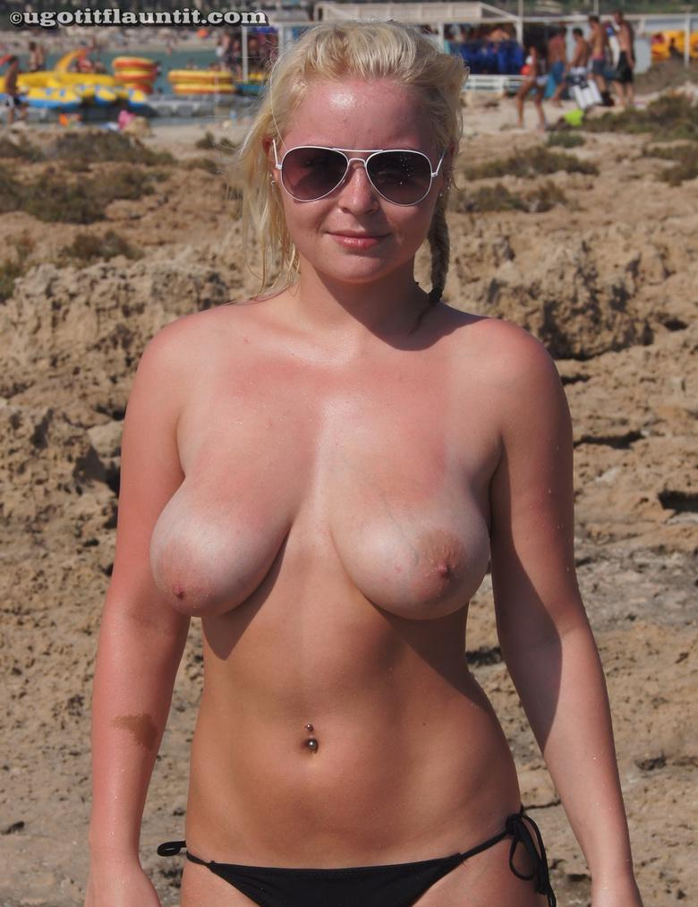 Joanne topless on the shore in 15 photos from U Got It! Flaunt It! picture 16