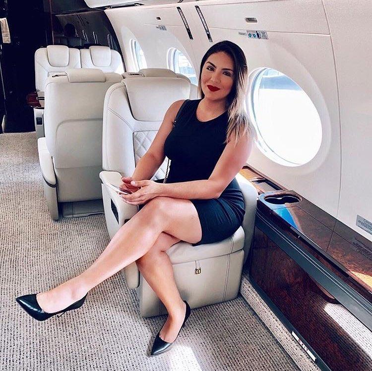 french stewardess with dream legs waiting for boarding picture 2