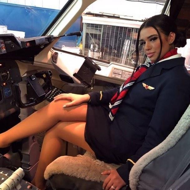 french stewardess with dream legs waiting for boarding picture 7