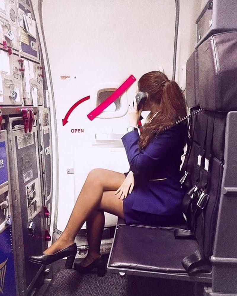 french stewardess with dream legs waiting for boarding picture 11