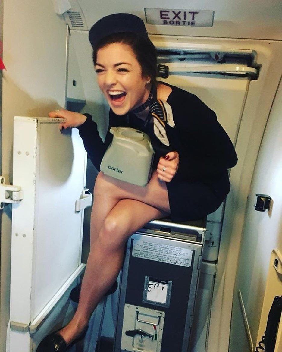 french stewardess with dream legs waiting for boarding picture 10