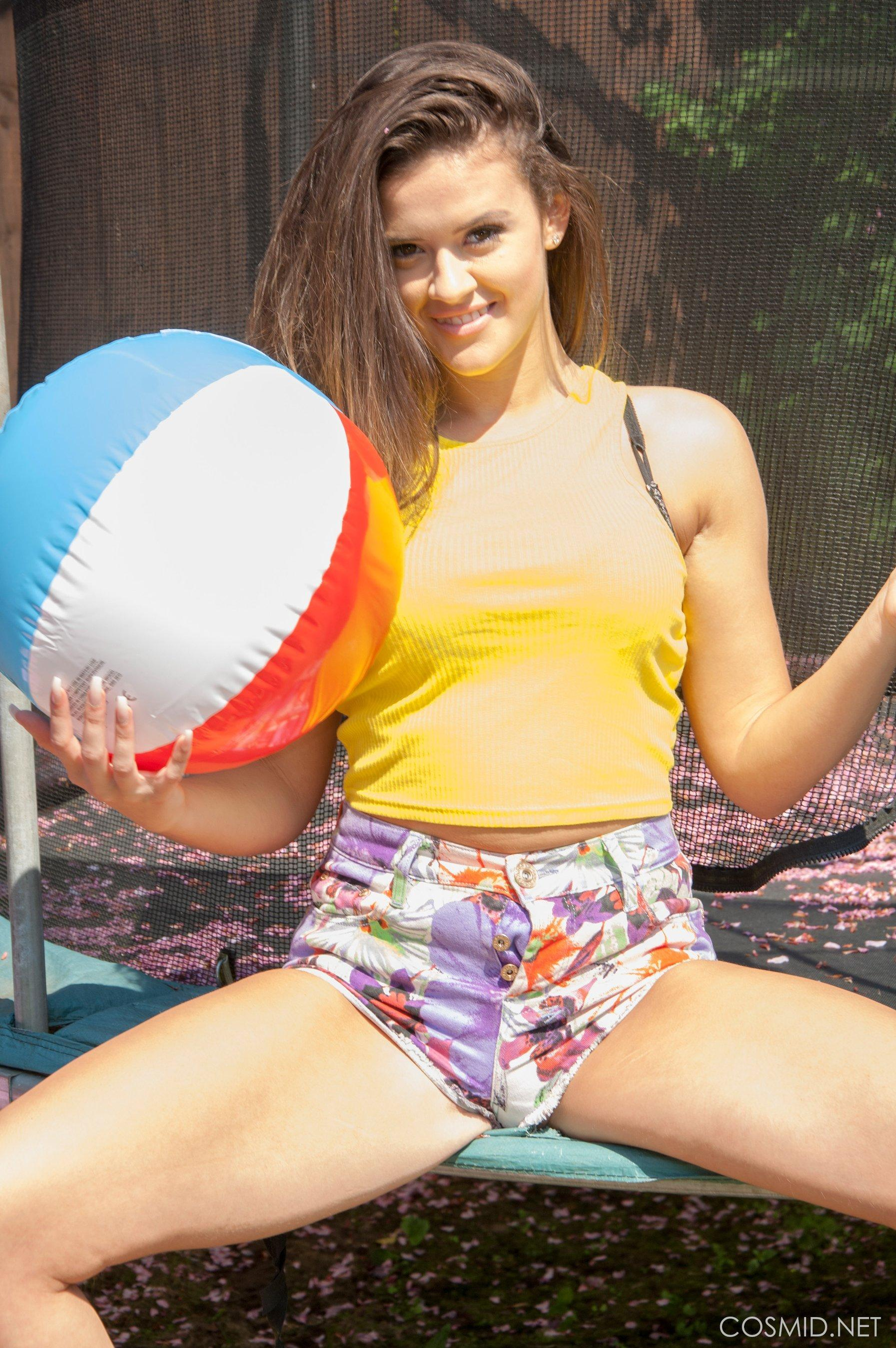 Brooke Willow strips on trampoline | Coed Cherry photo 4