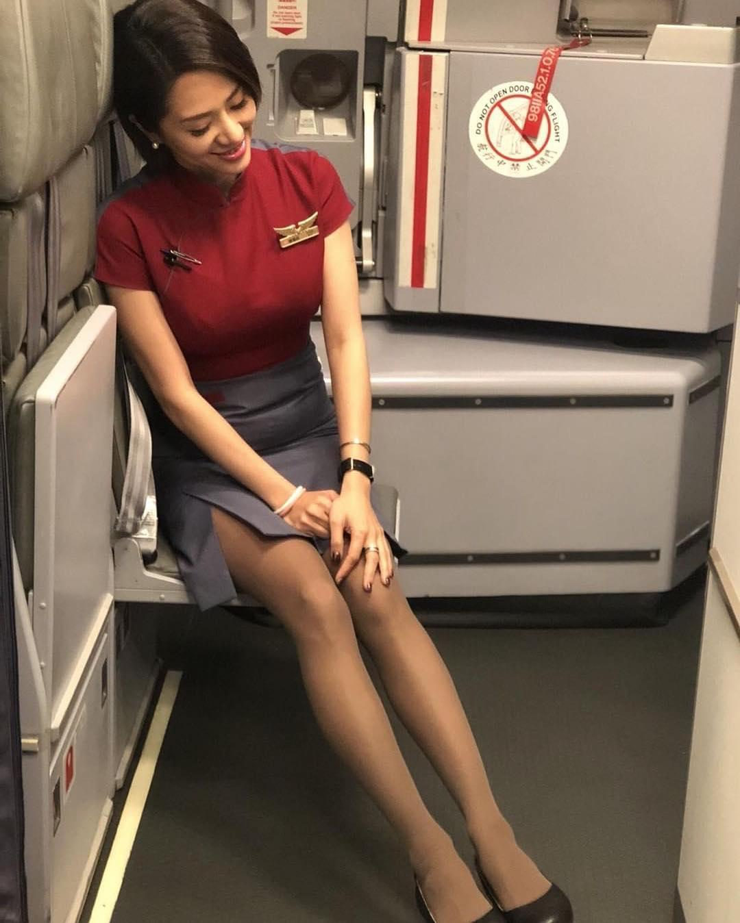 french stewardess with dream legs waiting for boarding picture 13
