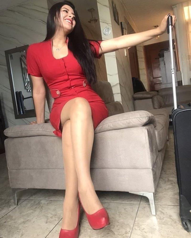 french stewardess with dream legs waiting for boarding picture 8
