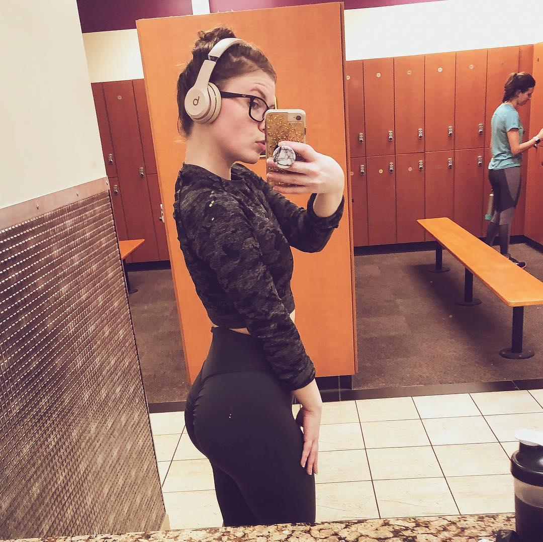 super cute nerdy chick with some hot selfies posing in gym picture 12