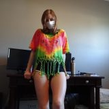 neat daughter doing naked selfies with mask on her face picture 3