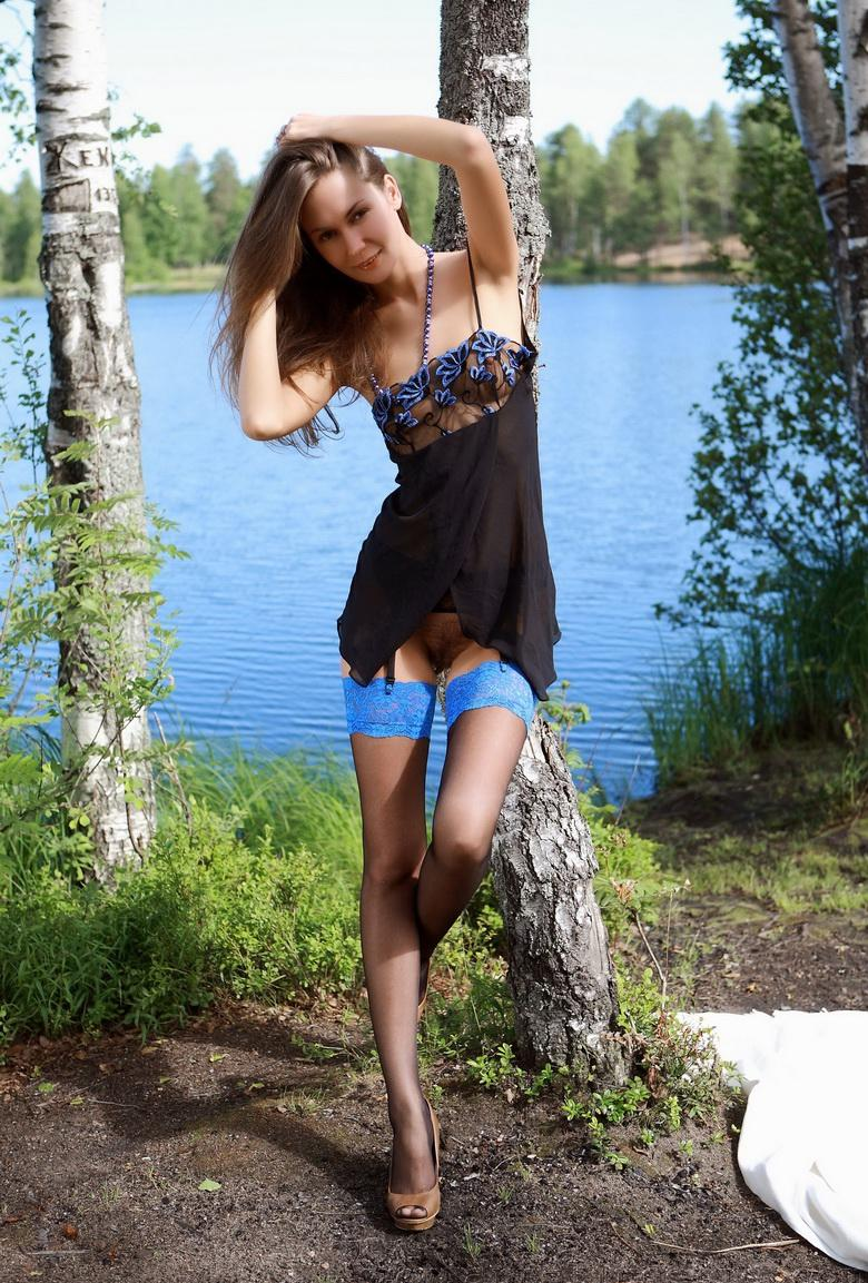 stefanie from art-lingerie flashing her cute slender body outdoors picture 2