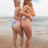 two stunning beach girls have the beach on their own to make teasing selfies picture 7
