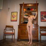 cute female artist Kasia doing quarantine selfies of her hairy triangle picture 15