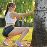 fitness girl with spontanious tits flash in nature picture 10